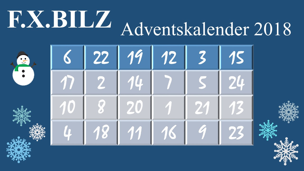 F.X.BILZ Facebook Adventskalender 2018